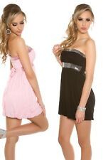 Bandeau minivestido hombro libre cóctel vestido de fiesta vestido de lentejuelas longtop 36-42