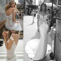 White Ivory Wedding Dresses Bridal Gowns Lace Train Mermaid Off Shoulder Custom