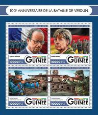 Guinea Military Stamps 2016 MNH WWI WW1 Battle of Verdun Angela Merkel 4v M/S