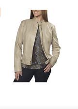 Bernardo Faux Leather Moto Jacket Womens Small  Tan Soft Wheat Full Zip Pockets