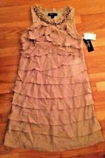 S L FASHIONS Tiered Women's Party Special Occasion Dress size 12P NWT Khaki