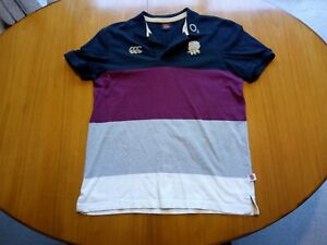 Canterbury England Rugby Shirt Large Size L Polo Shirt Black Gold Rose 02