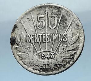 1943 URUGUAY Founding Father Hero ARTIGAS Silver Vintage WWII Time Coin i68232