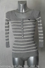 joli pull fin col tunisien gris mi saison ABERCROMBIE & FITCH taille S