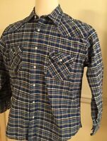 Wrangler Western Shirt Pearl Snap Men's L/S Long Sleeve Large L Blue Plaid Thick