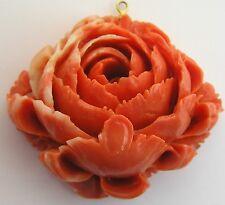 Vintage Carved Orange Coral Rose Pendant Two Tone Faux Flower
