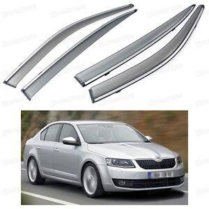 Front & Rear Window Visor Deflector Vent Shade for Skoda Octavia Sedan 2013-2015