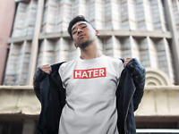 Hater Red Box Logo T-Shirt Funny Hip Hop Rap Savage Style Mens Player Tee White