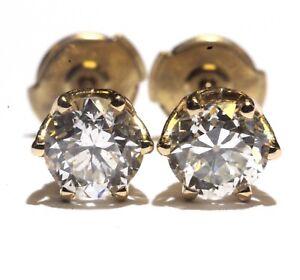 EGL GIA 14k yellow gold 1.42ct SI2 SI1 G J round diamond 6 prong stud earrings