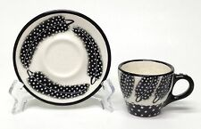 Black & White Feather Print Cup And Saucer