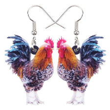 Acrylic Floral Chicken Rooster Earrings Drop Dangle Fashion Jewelry For Women