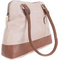 Gigi  Two Tone Bone/Mid Brown Soft Leather Shoulder Handbag 8701 pls read desc