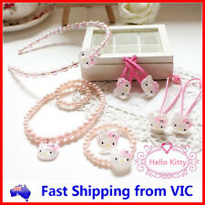 8 PCS HELLO KITTY SET Necklace Bracelet Ring Headband Hair Clips Rope Girls Gift