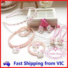 8 PCS HELLO KITTY SET Necklace Bracelet Ring Headband Hair Clips Rope Girls Gift