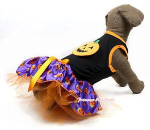 Halloween Black Sleeveless Purple Pumpkin Print Orange Crystal Bow Dog Dress