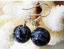 Schöne Ohrringe aus Edelsteinen Schneeflocken-Obsidian 925er Silber Ohrhaken