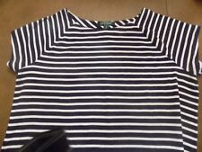 LAUREN RALPH LAUREN NAVY & WHITE STRIPE TOP CAP SLEEVE BOTTOM LOGO SIZE 1X