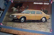 Original Large Vintage Quad SAAB 99 GL Showroom Dealership Poster 1970's.