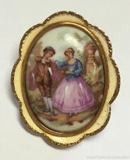 Vintage Fragonard Painted Porcelain Romantic Scene Pin TLM England Gold Tone