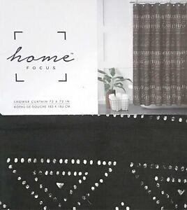 New HOME FOCUS Cotton Shower Curtain Dark Gray Tribal Geometric Dots Lines