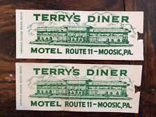 Vintage Moosic PA Matchcover Lot (2) Full Length ~ Terry's Diner Roadside 1950s