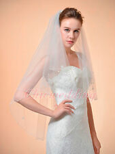 2T Ivory Wedding Bridal Veil Handmade Flower Beads Sequins Edge with Comb New