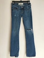 Women's Hollister Jeans 00 Destroyed Look Blue 00R W23 x L33 Hole in Knee