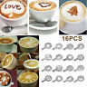 16Pcs DIY Coffee Latte Cappuccino Mold Art Baking Stencils Template Dusting Pads