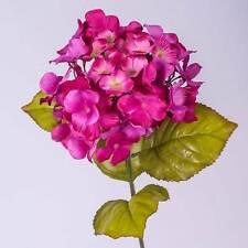 "Silk flower Hydrangea spray MONA, fuchsia 28""/70 cm - Plastic single stem flower"