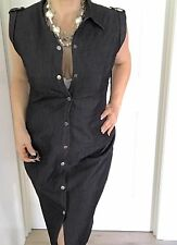 CALVIN KLEIN WOMENS DRESS STRETCH  RAYON BLACK SLEEVELESS KNEE LENGHT SZ 12