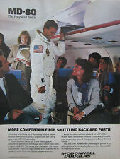 6/1985 PUB MCDONNELL DOUGLAS MD-80 AIRLINER NASA ASTRONAUT AIRLINE ORIGINAL AD