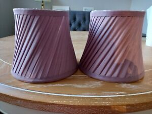 Lovely Pair of Lilac Colour Sweeping Pleat Fully Lined Lampshades