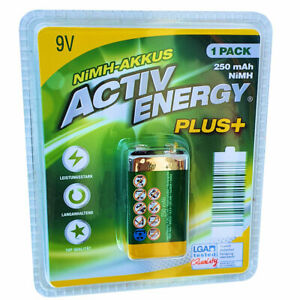 ACTIV ENERGY® Akku 9V 6HRL61 250mAh NIMH-AKKUS wiederaufladbar