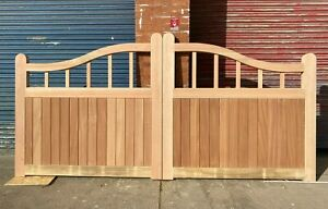 Solid Hardwood Timber Wooden Swan Neck Driveway Gate! Made to measure! Bespoke!