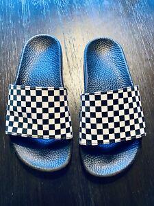 Vans Slide-on Jr Black White Checker Sandals US Youth Size 4