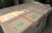 1930s Twin Feed Sack Quilt 20 Hand Embroidered Squares for Child Hand Quilted