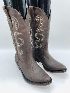 American Rag Women's Dawnn Faux Leather Mid-Calf Western Boots Brown 5M    #T-22