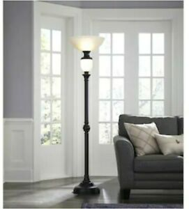 "PORTFOLIO 74""H TORCHIERE LED NIGHT LIGHT-OIL-RUBBED BRONZE-AMBER see description"