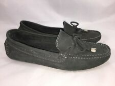 Saks Fifth Avenue Dark Gray Suede Moc Toe Slip On Moccasins Women's Size 6.5 B