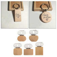 25x Blank Wooden Key Chain Wood Keychain Rings Keyfob Car Bag Charm Pendant