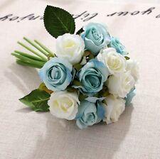 12Head Artificial Flowers Rose Silk Floral Bridal Wedding Bouquet Home Party Dec