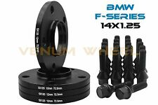 "4 BMW 12mm 1/2"" Black Hub Centric Wheel Spacers + 20 14x1.25 Bolts New Models"