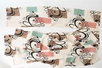 True Vintage MCM Decor Moderne Atomic Barkcloth Boomerang Squiggles Pieces