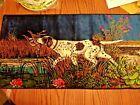 """Vtg Italian Velvet Tapestry Wall Hanging Pointer Bird Dog 38"""" X 19.5"""" R.T.CO-NY"""
