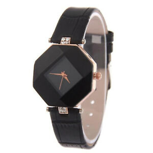Black Octagon Watch with Black Leather strap, Rose gold, Diamante crystal