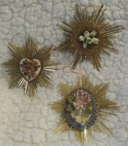 Lot of 3 Shabby Victorian Look Christmas Tree Ornaments Holiday XMAS Decor
