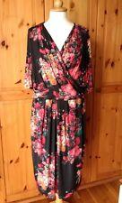 M&S PER UNA UK 20 EU48 US16 floral red black multi midi dress
