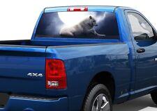 White wolf with moon dark night Rear Window Decal Sticker Pick-up Truck SUV Car