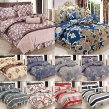 7 Piece Complete Bedding Set Duvet Quilt Cover Fitted Sheet Pillowcase Cushions