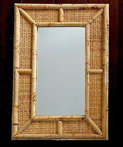 "Wicker Rattan Mirror 20"" Bamboo Wall Hanging Vtg Tiki Mid Century Hong Kong"